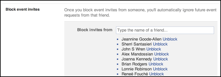 block facebook event invites from these people
