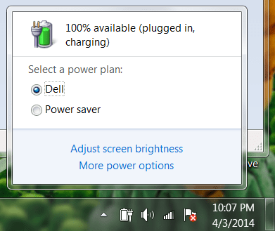 battery settings window, win7