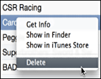 delete apps from itunes 11 mac os x