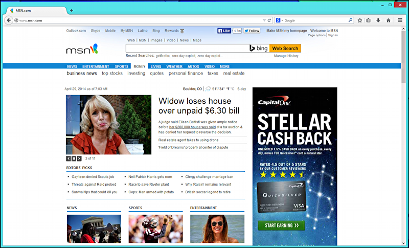 firefox for windows, msn.com home page