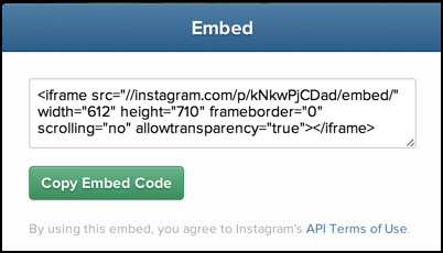 embed code to include an Instagram pic on your Web page