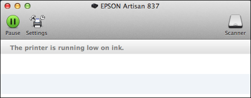 epson printer low on ink status mavericks
