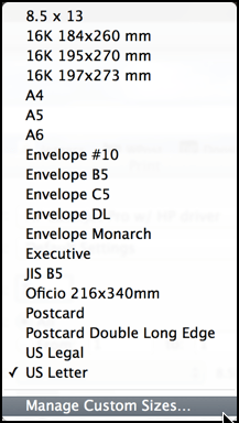 paper size options in mac os x printer dialog