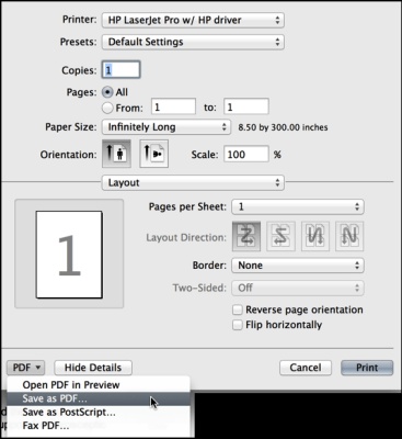 printer dialog with long paper configuration setting chosen