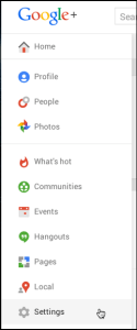 google plus main menu