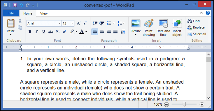converted PDF shown in WordPad Windows Win8