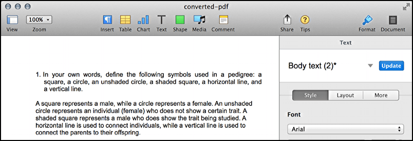 converted pdf document shown in mac apple pages