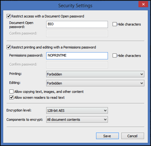 pdf document password security