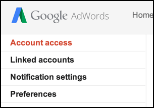 adwords account settings / account access