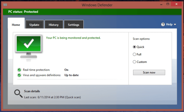 home tab / quick scan / win8 defender