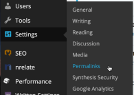 wp wordpress settings > permalinks