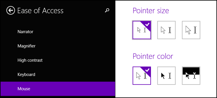 change pointer size and color in win8.1