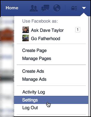 settings / gear menu in facebook