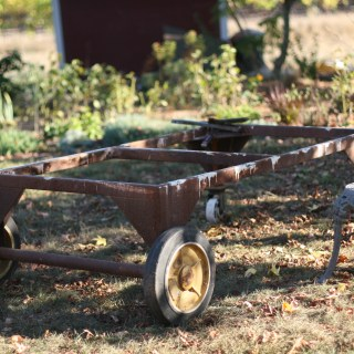 We turned a navel weapons cart into a beautiful outdoor coffeetable