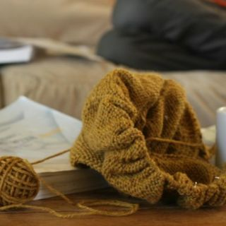 Knitting a barn sweater from taproot and reading Writing With Ease