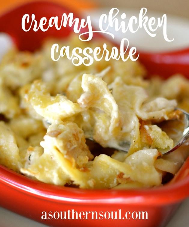 creamy chicken casserole close