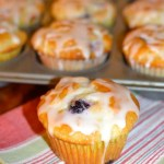 Blueberry Sour Cream Muffins with Lemon Glaze