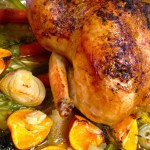 Roasted Chicken with Clementines, Garlic & Onions