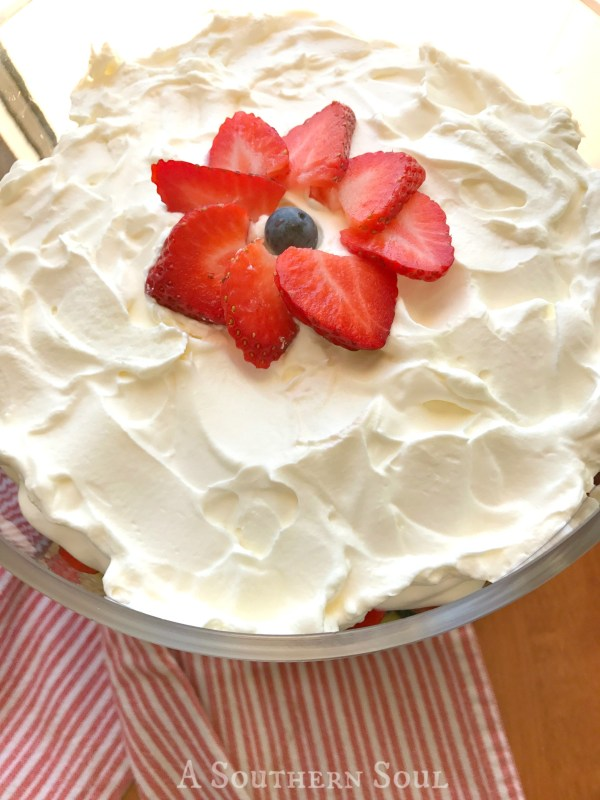 whipped cream strawberry trifle