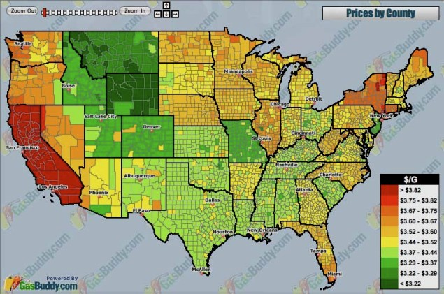 Gas Prices by County in the United States Gas price heat map 635x421