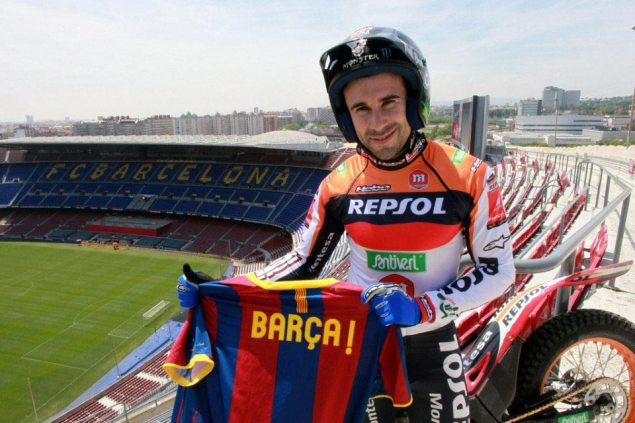 Video: Toni Bou Rides Trials in the FC Barcelona Stadium Toni Bou Camp Nou trial FC Barcelona 635x423