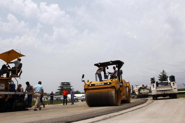 Indianapolis Motor Speedway Begins Repaving Infield Indianapolis Motor Speedway repaving 635x423