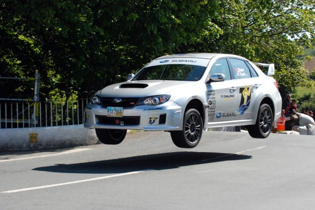 IOMTT: Subaru Exhibition Lap Almost Ends in Disaster Mark Higgins Subaru Exhibition lap Isle of Man TT 635x424