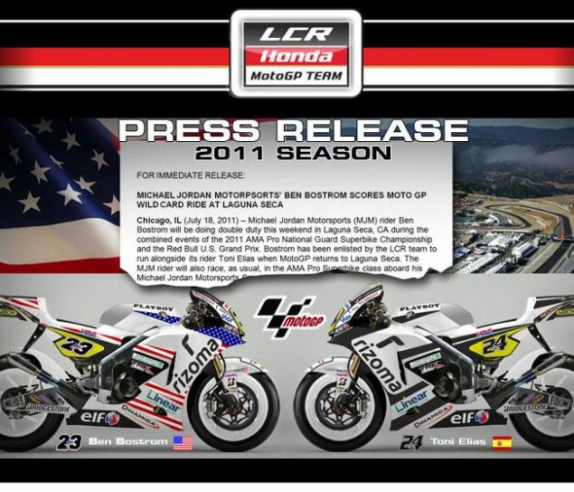 Ben Bostrom to Wild Card Laguna Seca with LCR Honda Ben Bostrom LCR Honda Laguna Seca 635x544