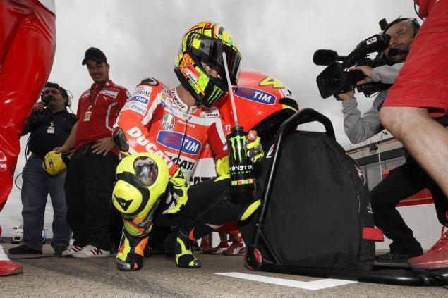 Valentino Rossi to Test New Aluminum Frame at Jerez Valentino Rossi Ducati Corse test 635x423