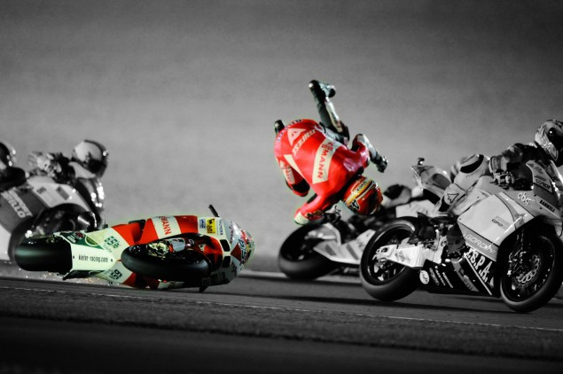 The Dainese D Air Racing Airbag Suit Comes to America Stefan Bradl Dainese D Air Racing suit crash Qatar 2010 02 635x422