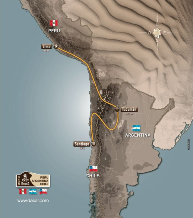 The 2013 Dakar Rally   Peru, Argentina, & Chile 2013 Dakar Rally route map 635x717