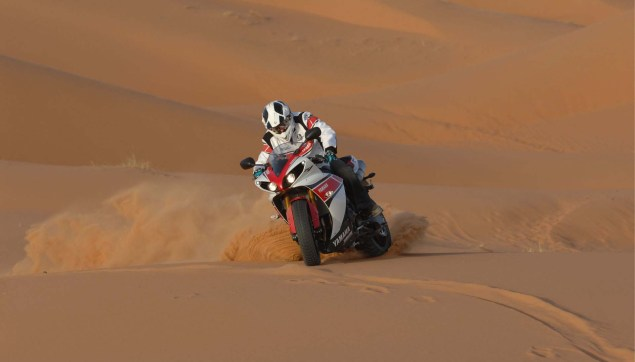 Yamahas 180hp Adventure Bike is Our Kind of Crazy Yamaha YZF R1 sand dunes 08 635x362