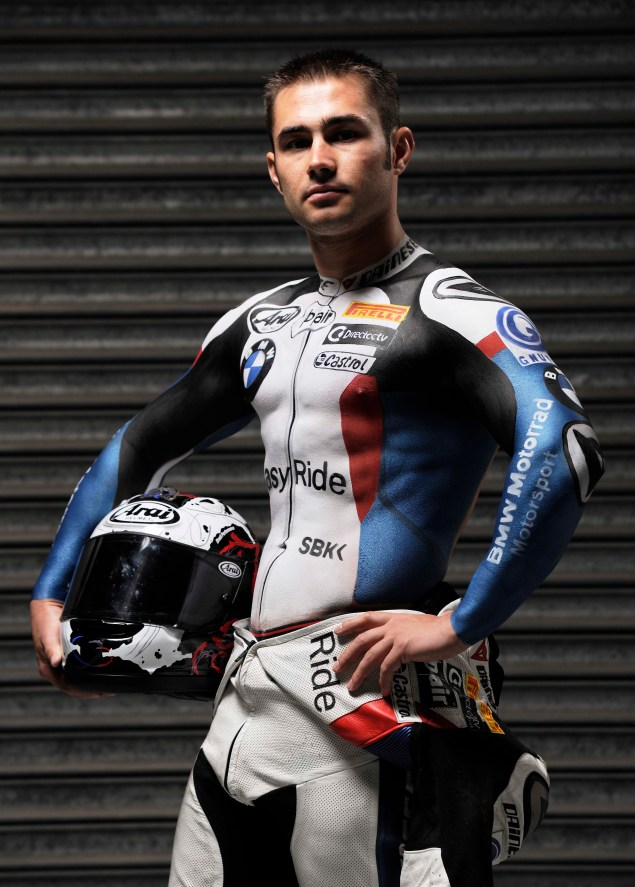 Leon Haslam Strips Down to Promote WSBK at Silverstone Leon Haslam body paint WSBK Silverstone 01 635x887
