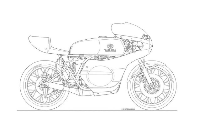 Photos: Some Classic Motorcycle Line Art Drawings Motorcycle line drawing 03 635x423