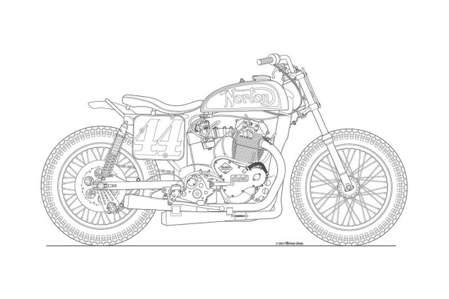 Photos: Some Classic Motorcycle Line Art Drawings Motorcycle line drawing 05 635x423