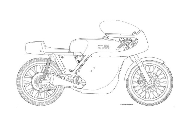 Photos: Some Classic Motorcycle Line Art Drawings Motorcycle line drawing 10 635x423