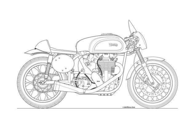 Photos: Some Classic Motorcycle Line Art Drawings Motorcycle line drawing 12 635x423