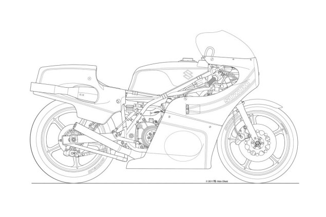 Photos: Some Classic Motorcycle Line Art Drawings Motorcycle line drawing 13 635x423