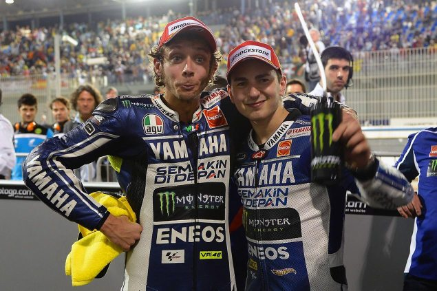 Caption this Photo: Guess Who? valentino rossi jorge lorenzo qatar gp yamaha racing 635x423