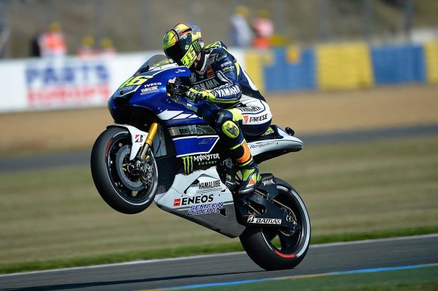 Friday Summary at Le Mans: Of Four Fast Men, Improved Ducatis, Reddings Reign, and a Quota on Spaniards valentino rossi yamaha racing le mans wheelie 635x423