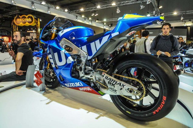 Up Close with the Suzuki XRH 1 MotoGP Race Bike Suzuki MotoGP race bike EICMA 01 635x421