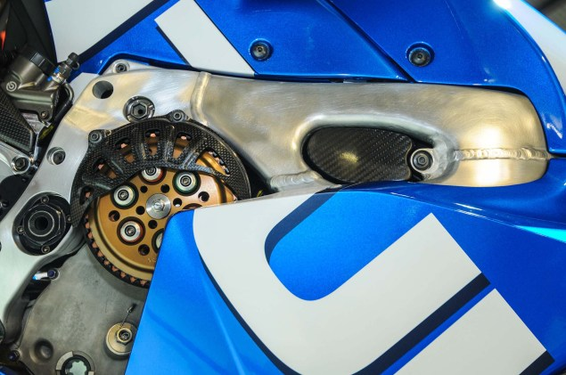 Up Close with the Suzuki XRH 1 MotoGP Race Bike Suzuki MotoGP race bike EICMA 05 635x421