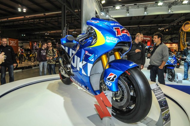 Up Close with the Suzuki XRH 1 MotoGP Race Bike Suzuki MotoGP race bike EICMA 08 635x421