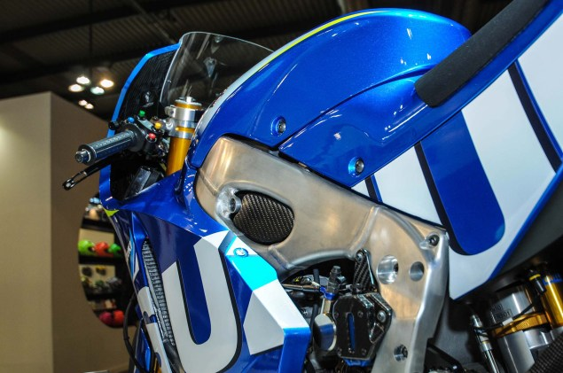 Up Close with the Suzuki XRH 1 MotoGP Race Bike Suzuki MotoGP race bike EICMA 13 635x421