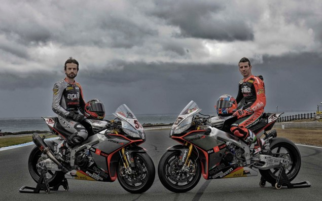 Photos: Aprilias World Superbike Silver Fireball Livery Aprilia RSV Factory Silver Fireball livery Team Launch WBSK 14 635x396