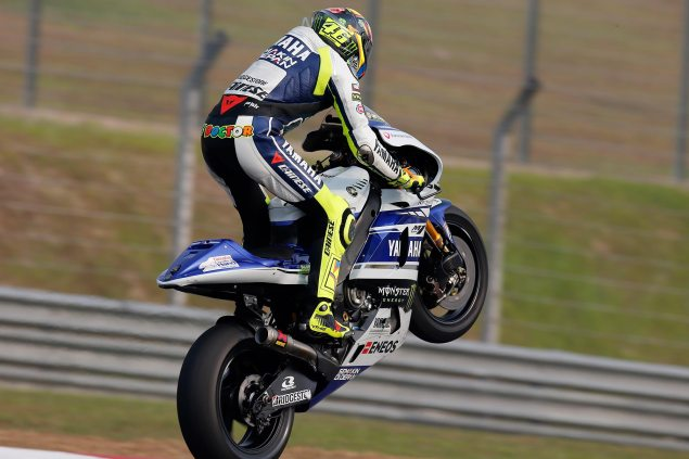 MotoGP: Overall Times from the Sepang (2) Three Day Test: valentino rossi wheelie sepang test yamaha racing 635x423