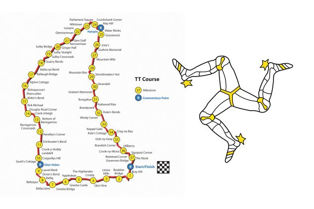 2014 Isle of Man TT Practice & Race Schedule isle of man tt course map 635x423