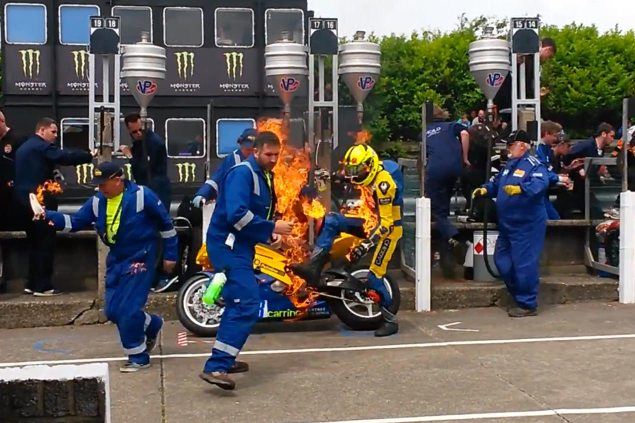 Video: Grant Wagstaffs Pit Lane Fire from the Supersport TT grant wagstaff fire supersport tt 635x423