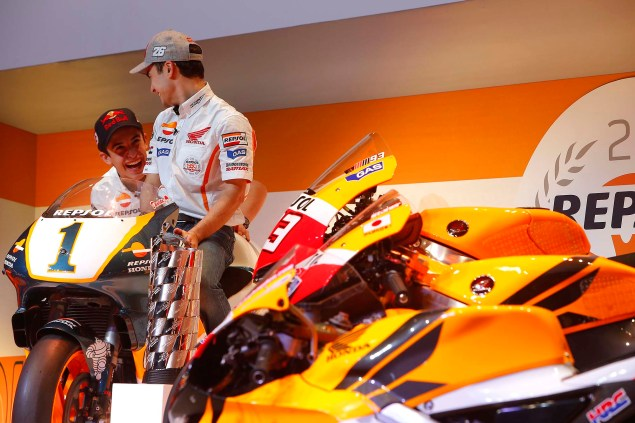 Watch Marc Marquez & Dani Pedrosa Kick the Tires on the Repsol Honda GP Bikes of Yesteryear Marc Marquez Dani Pedrosa Repsol Honda GP Bikes 01 635x423