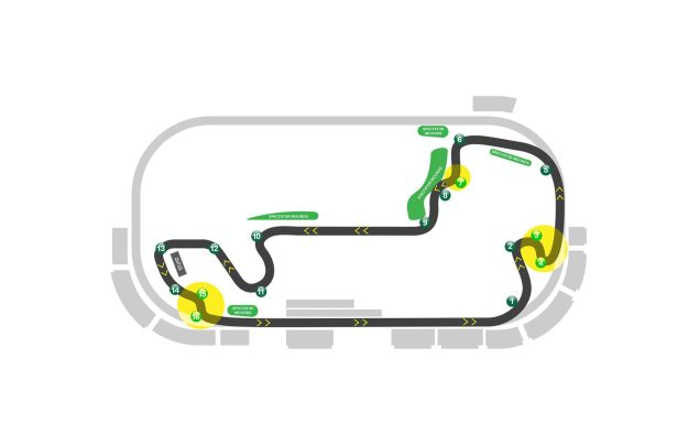 Thursday Summary at Indianapolis: A New Surface, Beating Marquez, & Silly Season Resuming indianapolis motor speedway motogp road course track map 635x394